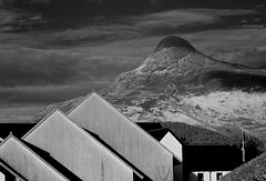 Peaks (David J. Grant) Tags: winter blackandwhite bw abstract architecture landscape scotland spring highlands nikon roofs glencoe vernacular peaks shape gables pap ballachulish d3200
