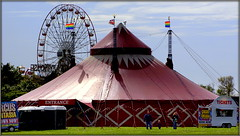 The Big Top is in town (* RICHARD M (Over 5 million views)) Tags: circusfuntasia circus bigtop tent marquee bigwheel ferriswheel ticketoffice flags princesparksouthport southport sefton merseyside fun familyfun funforall happiness circuses scapes candid street showbiz