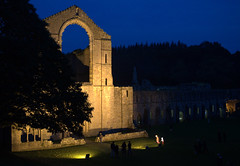 Floodlit Fountains Abbey (Tony Worrall) Tags: yorkshirephotos east eastern northyorkshire yorks yorkshire relic abbey ruins stone built building ruined historic past pastime england unitedkingdom northern uk update place location north visit area county attraction open stream tour country fountainsabbey night floodlit lights shadows lit