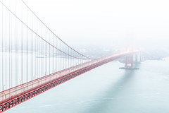 Misty morning (Zoltan Acs) Tags: bridge goldengate sf mist misty diagonal minimal highkey california sanfrancisco westcoast usa outdoor longexpo morning earlywhite red road travel water