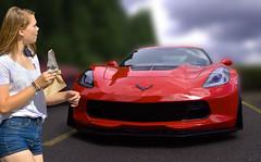 She's So Hot (swong95765) Tags: ferrari sportscar car fast woman female lady icecream bar bokeh
