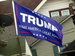I wonder if the #TRUMP  flag was made in China. (kennethkonica) Tags: donaldtrump makeamericagreatagain trump politics blue flag presidentialelection canonpowershot mikepence canon global random hoosier midwest indiana usa america vote leadership indianapolis indy