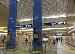 Tokyo Tube XIV (Douguerreotype) Tags: metro city people subway tube urban japan underground tokyo blue pillar sign