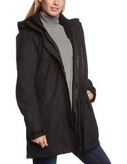 Woman in Jack Wolfskin black Ottawa Coat side (ShinyNylonFan) Tags: jackwolfskin coat waterproof outdoorjacket mycollection
