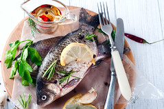 Delicious fresh fish on white background. (lyule4ik) Tags: fish diet healthy cooking spices concept food seafood fresh dark sea dinner raw cuisine background oil slate black meal lunch lemon table nature grill menu stone salt fillet speciality photo delicious new dill olive restaurant omega3 dieting stock serving gastronomy leafy parsley gourmet wine bream salad dorada closeup vegetable tasty
