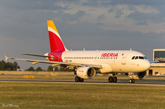 Iberia A319-100 EC-KMD (birrlad) Tags: prague prg international airport czech republic aircraft aviation airplane airplanes airline airliner airlines airways taxi taxiway takeoff departing departure runway sunlight sunset evening airbus a319100 a319111 eckmd iberia spain