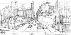 NYC, Tenth Av depuis la High Line (Croctoo) Tags: nyc newyork croctoo croquis croctoofr crayon ville skyscraper gratteciel sketch