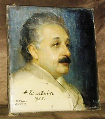"""Portrait of Albert Einstein by M. Lowe (Buenos Aires).  Oil Painting signed """"A. Einstein, 1925"""" (lhboudreau) Tags: art artist painting artwork portrait einstein alberteinstein lowe mlowe painter buenosaires signed autograph autographed aeinstein 1925 oilpainting scientist physicist relativity theoryofrelativity 20thcentury twentiethcentury people argentina universityofbuenosaires lectures marchapril1925 inedito signature visittoargentina courseoflectures seriesoflectures theoreticalphysicist argentinianphysics memento comingofage popularity"""