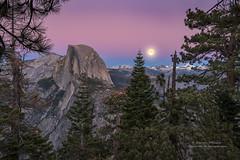 Moonrise over the Sierra (Darvin Atkeson) Tags: california yosemite national park halfdome elcapitan bridalveil forest sierra nevada mountains clouds rest valley canyon glacier darv darvin lynneal atkeson yosemitelandscapescom supermoon super moon explore
