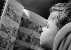 Mi pequeño lector descubre el cómic. 139/365. (anajvan) Tags: niño 100mm profundidaddecampo leer libro lectura cerca primerplano