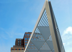 The New York City Triangular AIDS Memorial Park at St. Vincent's Triangle. (TheMachineStops) Tags: 2016 outdoor nyc newyorkcity manhattan westvillage park geometric stvincentshospital geometrie metal lines abstract pattern triangles memorial art