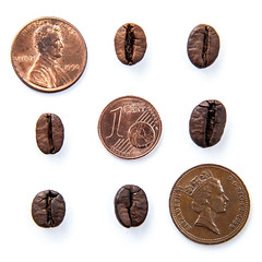 Coffee and Coins (klumprob) Tags: coffee everycoffee coffeebeans penny euro cent kaffee kaffeebohnen money coins münzen geld