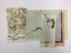Shortstories - Collage, waxed papers, drawing, 2016 (Ellen Ribbe) Tags: collage mixedmedia wachs wax drawing zeichnung bleistift graphit