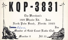 The Worshams - North Palm Beach, Florida (73sand88s by Cardboard America) Tags: qslcard cb cbradio qsl vintage divorce florida house