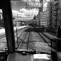 (**Hu) Tags: japan jr japanrailways iphone i6 bw black mtr metro square snap osaka kansai      sky street