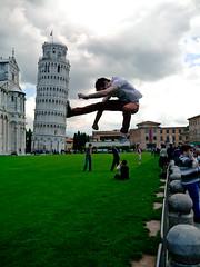 Don't kick the tower! [Explored] (jp3g) Tags: italy kick tourist panasonic pisa g3 leaningtower karatekick luikang