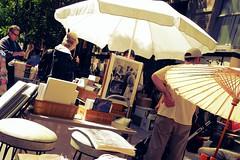 ephemera (omoo) Tags: newyorkcity westvillage ephemera used oldphotos streetfair streetscenes greenwichvillage usedbooks beachumbrella perrystreet seconhand usedgoods japaneseparasol dscn5460 70sbarstools booksphotosephemera