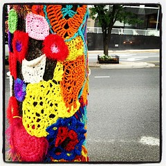 """Ella Fitzgerald"" yarn bomb. Rosslyn, VA (knascar) Tags: arlington square yarn va squareformat publicart crafty rosslyn inkwell arlingtonva iphoneography yarnbomb instagramapp uploaded:by=instagram"