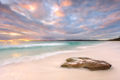 Hyams Beach (stevoarnold) Tags: blue sunset red sea sun seascape color colour beach water beauty rock clouds sunrise sand australia nsw jervisbay