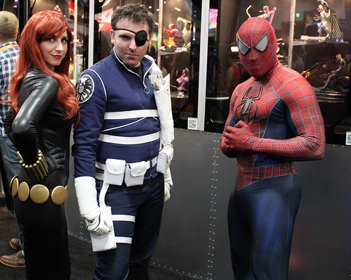 2012-Fans Dressed Up as Black Widow-Nick Fury & Spider-Man at SDCC-02