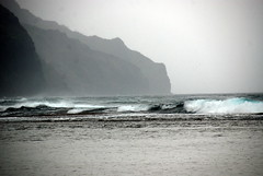 """running and running (brisrain) Tags: sea storm dark landscape hawaii waves gray"