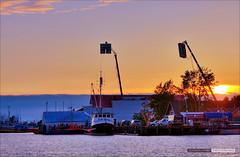 Sunset On The Set (Clayton Perry Photoworks) Tags: sunset set vancouver movie boats lights richmond godzilla filming steveston godzilla2014