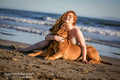 Morgan and Louis (the dogue de bordeaux) (Lisa Van Dyke ~ Photographer) Tags: dog beach redhead doguedebordeaux