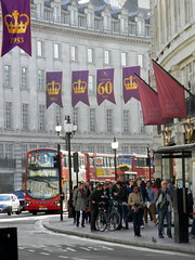 Celebrating queens 60 years coronation banners purple gold Regent Street London England 15th June 2013 15-06-2013 17-29-41 (dennoir) Tags: