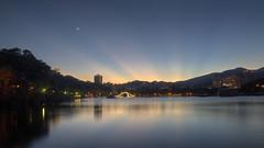 IMG_0073_75 (vicjuan) Tags: sunset moon lake geotagged taiwan sunsetglow  taipei hdr     neihu  tonemapping  dahupark geo:lat=25080166 geo:lon=121607 20130711