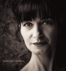 E. (in eva vae) Tags: portrait people bw white selfportrait black macro art me face fashion silhouette closeup lady contrast photoshop self canon vintage pose dark hair neck persona grey mujer eva soft