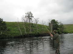 Lady Rowe playing a nice one in Camus on the Upper Oykel.
