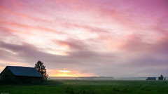 Mist, More Mist (k009034) Tags: autumn sunset mist beautiful weather barn finland landscape countryside nikon scenery day cloudy fields beautifulearth oulainen matkaniva
