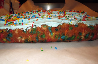 Jamie made Chelsea a from-scratch confetti cake for her broke ass birthday
