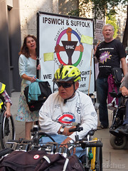 PQ040346 DPAC protest at DWP - 04.09.2013 (pete riches) Tags: uk london dan protest gb banners blockade dwp disabilityrights slogans picket placards wheelchairs segregation atos ilf wca dla dpac dis