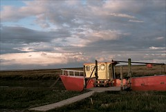 Red Boat (James_Crouchman) Tags: sunset red sea film clouds 35mm gold coast boat ship pentax kodak magic north norfolk wash hour 200 analogue thornham p30