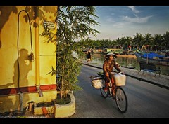 Self Portrait: The Shadows of Hoi An, Vietnam - Southeast Asia (Sam Antonio Photography) Tags: street old shadow sky urban cloud selfportrait heritage tourism water hat weather bicycle yellow horizontal architecture po