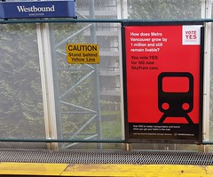VOTE YES for better transit (D70) Tags: people station yellow for mesh yes ad an line want most transit caution burnaby local grille vote skytrain referendum better westbound mayors upcoming patteron