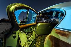 Broken Heart (Aztravelgrl (Forgotten Places Photography)) Tags: california longexposure nightphotography usa abstract abandoned car lowlight fresno junkyard valleyjunkyard