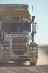 Roadtrain to Marree (BattysGambit) Tags: road blue autumn red sky rock train bush ruins track desert earth south horizon rally salt cancer australia qld queensland council outback stony sa plains fundraiser simpson gravel pans 2015 shitbox gibber birdsville sturts