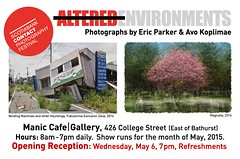 Post card invitation (Eric.Parker) Tags: show bridge tree coffee japan photography gallery exhibition pinhole photograph contact fukushima manic 2015 gsv ericparker googlestreetview rexclusionzone avokoplimae