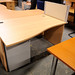 Beech curved office desk