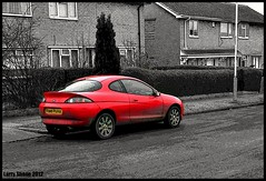 Red Ford Puma (larry_shone) Tags: car ford puma red selectivecolour urban picsart