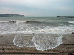 stormy Swanage 297/366 (dawn.v) Tags: stormy swanage sea coast purbecks dorset uk england lumixtz7 october 2016 seagull waves seaside 366daysin2016 2016yip pier