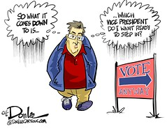 1116 which veep cartoon (DSL art and photos) Tags: editorialcartoon donlee election vote hillaryclinton donaldtrump vicepresident mikepence timkaine lesseroffourevils email lawsuit sexcrime
