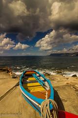 the boat (paolotrapella) Tags: boat sky sea beach water colors clouds barca nuvole spiaggia mare colori cielo