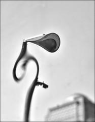 F_DSC5562-1-BW-Nikon D300S-Nikkor 16-85mm-May Lee 廖藹淳 (May-margy) Tags: 線條造型街燈 maymargy bw 黑白 街燈 變形 反射 金屬 建築物 天馬行空鏡頭的異想世界 mylensandmyimagination 線條造型與光影 linesformandlightandshadows 街拍 streetviewphotographytaiwan 心象意象與影像 naturalcoincidencethrumylens 台北市 台灣 中華民國 taiwan repofchina 模糊 blur 散景 bokeh fdsc55621bwstreetlamp distortion metal reflecion taipeicity nikond300s nikkor1685mm maylee廖藹淳 臉譜 facesinplaces