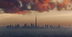 RED OCTOBER (Titanium007) Tags: burjkhalifa dubai skyscarper skyline city uae unitedarabemirates cityscape sunset orange clouds mist