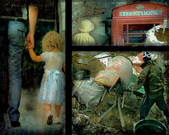"""Living with memories.Emigration. Series """"Hidden Pain """" (Nellie Vin) Tags: emigration man girl child telephonebooth sand workingman color hat woman atmosphere livingwithmemories nellievinphotography prints surrealism"""