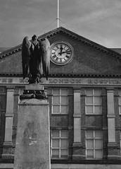 (phrada_kendi) Tags: london uk england royal hospital whitechapel royallondonhospital building sky column angel statue windows clock blackandwhite nikon sigma street photo streetphoto d7100