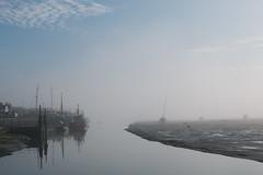 A misty Old Leigh morning. (ho_hokus) Tags: 2016 england fujix20 fujifilmx20 leighonsea oldleigh riverthames thamesestuary uk coast coastline fog mist shore shoreline boats fishingboats leighcreek
